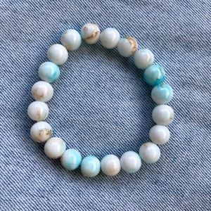 NEW✨ Pearl Turquoise Glass Beaded Stretch Bracelet